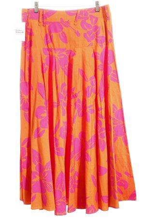 D&G Midirock dunkelorange-pink florales Muster Romantik-Look