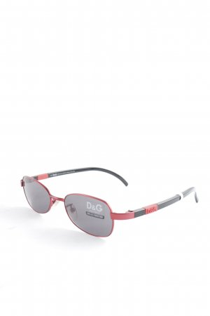 D&G Occhiale da sole ovale nero-rosso stile casual
