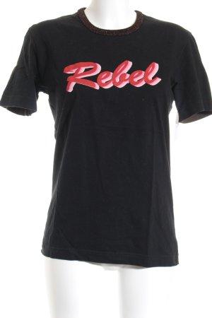 D&G T-Shirt schwarz-grüngrau Casual-Look