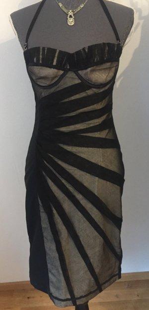 Dolce & Gabbana Vestido bustier negro-marrón grisáceo