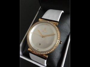 Orologio con cinturino di pelle bianco-oro Acciaio pregiato