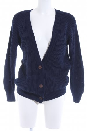 Daisy Street Coarse Knitted Jacket dark blue weave pattern casual look