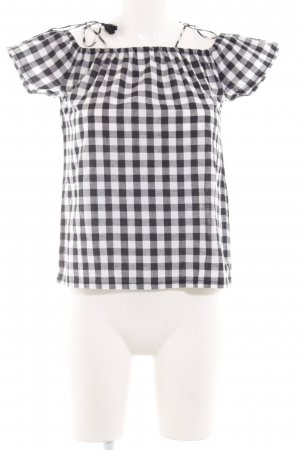 Daisy Street Checked Blouse white-black check pattern business style