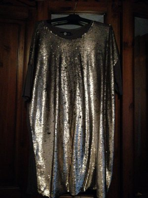 Daisy Street Sequin Dress gold-colored-grey