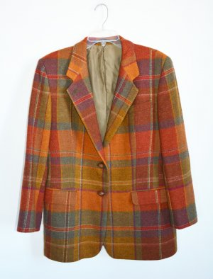 DAKS Signature Jacket Jacke Kariert Tweed Orange Grün Herbstfarben Vintage DE 42