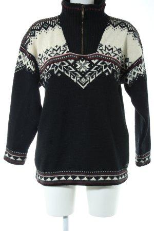 Dale of Norway Noorse trui zwart-room grafisch patroon casual uitstraling