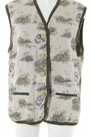 Daller Chaleco folclórico beige claro-gris verdoso estampado floral