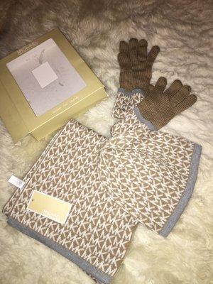 Damen 3er Set MK Logo Schal, Mütze & Handschuhe