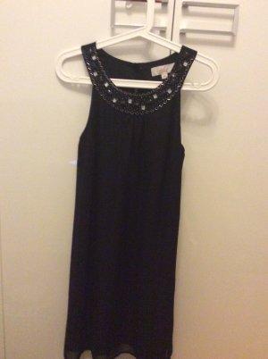 Damen Abendkleid Schwarz Ärmlellos Mittellang mit Strass Kragen