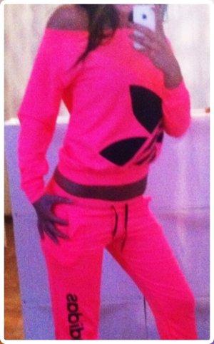 Damen Adidas Anzug Sportanzug Trainingsanzug Hausanzug Neon Pink Rosa S/M 36/38