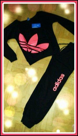 Damen adidas Sportanzug Trainingsanzug Hausanzug Schwarz Pink Rosa S/M 36/38