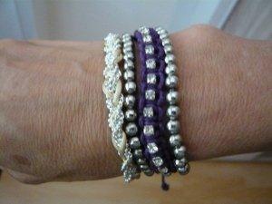 Damen-Armband, 4tlg., Modeschmuck, LBVYR, silber/violett/weiß, neu