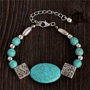 Damen Armband Türkis Farbe Neu Boho Silber Tibetan Love Böhmenschmuck