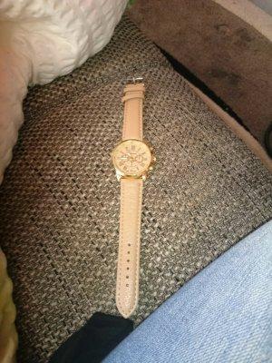 damen armband uhr beige