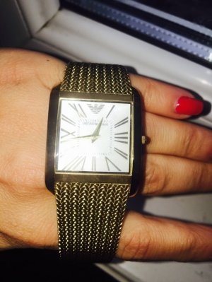 Emporio Armani Watch With Metal Strap sand brown-dark yellow metal