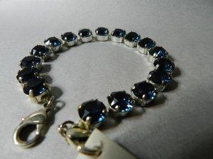Damen Armband versilbert - mit 16 Swarovski® Crystals - Montana Blau Neu