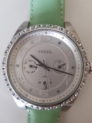 Fossil Watch With Leather Strap pale green