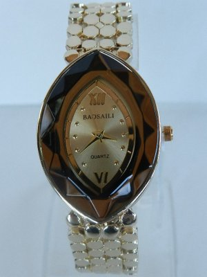 Analog Watch gold-colored-cognac-coloured stainless steel