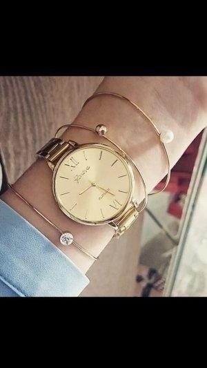 Horloge met metalen riempje goud