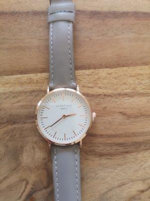 Damen Armbanduhr Leder grau weiß gold