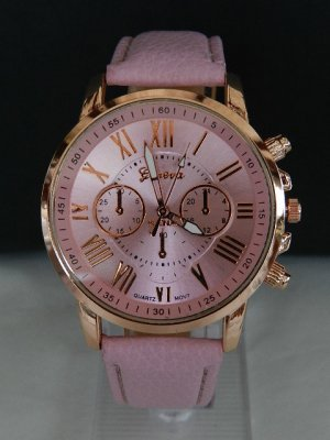 Geneva Reloj con pulsera de cuero multicolor acero inoxidable