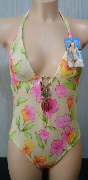 Damen Badeanzug Neckholder V-Ausschnitt Gr: M