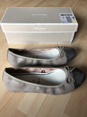 Damen Ballerinas Gr 40 Tamaris Cloud Pun/Plat Nr 1-22129-28 298 grau beige Neu