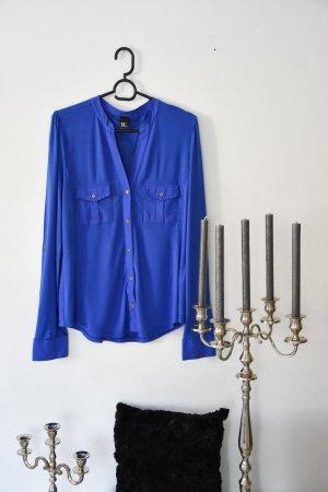 Damen Bluse Blusenshirt blau mit Brusttaschen M