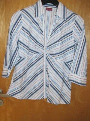 Damen Bluse  / Damenbluse, Gr. 40, weiß mit dunkelblauen, hellblauen und roten Streifen
