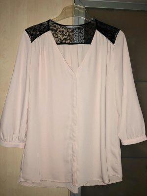 Damen Bluse Gr 36 S H&M Rosa Schwarz Spitze wie Neu