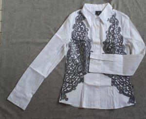 Damen Bluse Gr. L Just Cavalli Weiß mit Applikationen