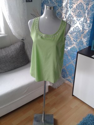 Damen Bluse hellgrün ärmellos Gr. S mit Steinen