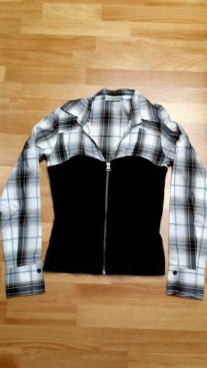 Damen Bluse/Hemd/ schwarz-weiß kariert/ langarmig/ mit Korsage-Optik/ Gr. 36