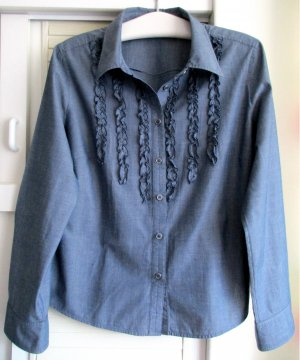 Damen Bluse Langarm jeansblau blau uni Rüschen