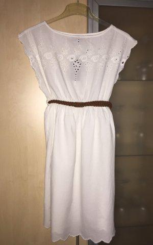 Damen Bluse Longshirt mit braunen Gürtel Gr 36 38 weiß New Look Neu mit Etikett
