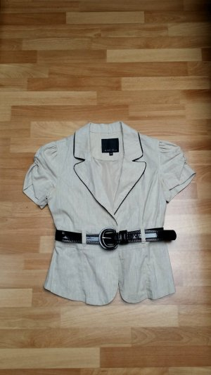Damen Bluse mit Gürtel/ elegant/ beige/Lack-Optik/ Gr. 36/ Amisu