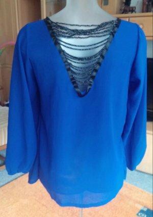 Slip-over blouse blauw