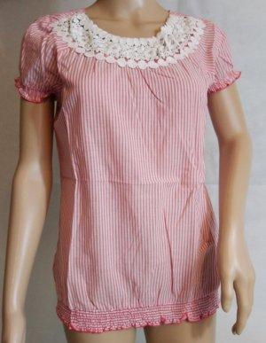 Damen Bluse Rot/Weis Gr.36