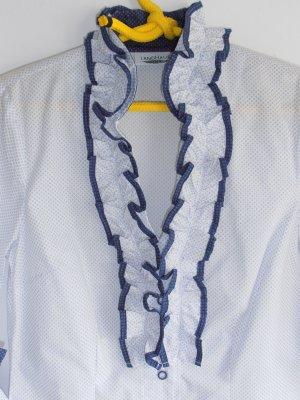 Ruffled Blouse white-blue cotton