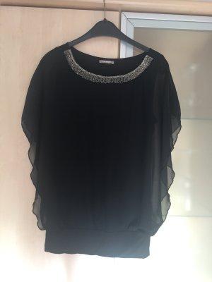 Damen Bluse von Orsay schwarz mit Glitzer Kragen Fledermaus Ärmel Gr 36 Neu