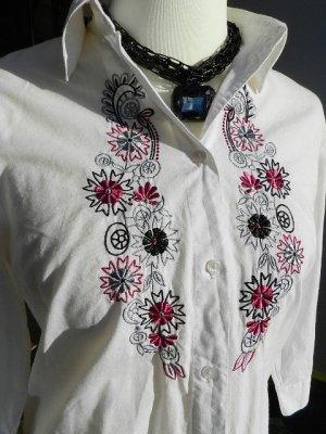 Damen Bluse weiß mit Zierstickerei - Gr.40 tailliert- Baumwolle