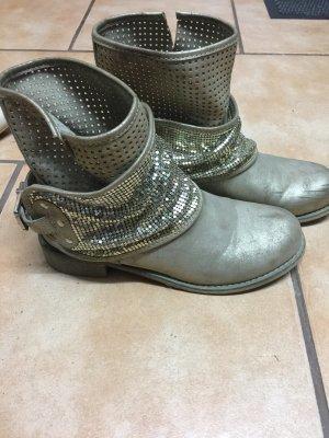 Damen Boots Stiefel Gold Gr.40 Winterschuhe Stiefeletten