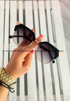 Damen Brille gold mit Schwarz Sonnenbrille mit UV Schutz