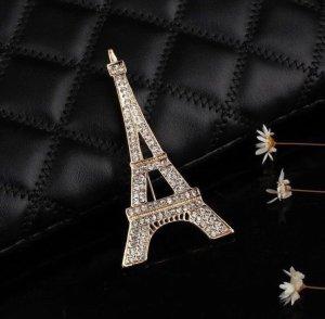 Damen Brosche mit Strass Eifell Tower Accessoires Neuwertig
