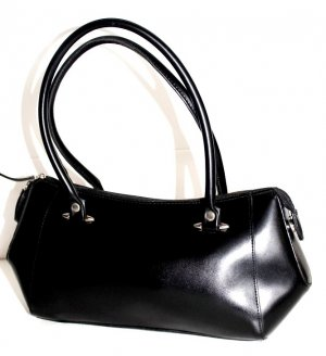 Damen Business Baguette Tasche Schwarz Öko-Leder Vintage