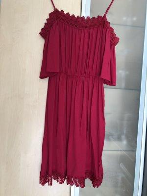 Damen Carmen Kleid Boho Spitze schulterfrei Gr 36 Orsay himbeere Neu