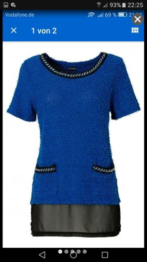 Damen Chiffon Bluse in Blau-Schwarz mit Ketten gr.36/38 Neu