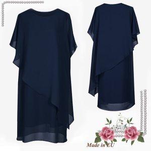 Robe chiffon bleu foncé-bleu tissu mixte