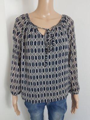 Tuniekblouse lichtgrijs-donkerblauw Polyester