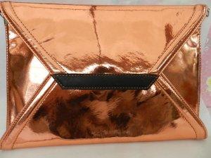Damen Clutch Abendtasche glänzend Messingfarben - Metallic Optik - unbenutzt